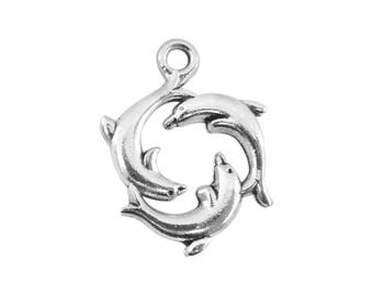 Set of 6 charms 3 dolphins metal plate 21 mm x 16 mm bc253