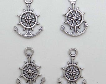 12 charms wheel and anchor in antique silver - bc201