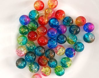 Mix of 20 glass beads Crackle 8 mm bi-color - pvc085