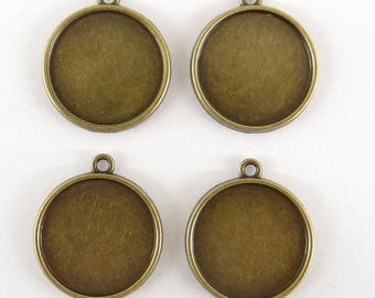 6 supports for cabochon 20 mm double sided suc028 bronze colored metal