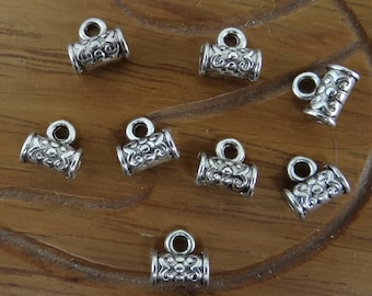 20 bails tubes clip 7 mm x 7 mm bd036 antique silver charms