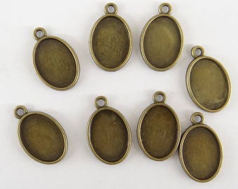 20 holders for oval cabochon 24.5 mm x 15.5 mm double sided suc029 bronze colored metal