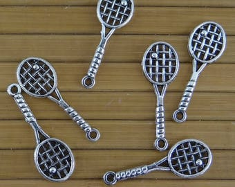 6 charms 29 mm x 10 mm silver aged - tennis racket bc280