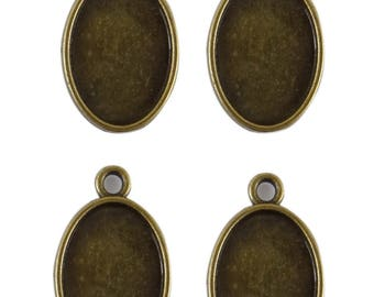 6 holders for oval cabochon 24.5 mm x 15.5 mm double sided suc030 bronze colored metal