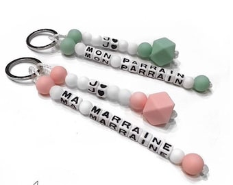 """""""Hexagon"""" double White Pearl silicone Keychain - Word and color to customize"""