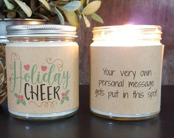 Christmas Candle, Holiday Candle, Scented Soy Candle, Personalized Candle Gift, Handmade Candle, Christmas Gift, Holiday Cheer