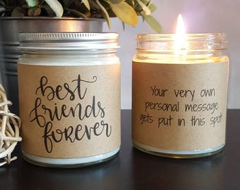 Best Friends Forever Candle Gift, Soy Candle Gift, Scented Soy Candle, Personalized Candle Gift, 8 oz soy candle gifts, Candles Handmade