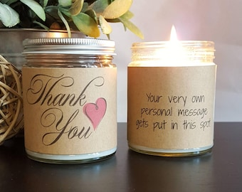 Thank You Soy Candle, Scented Soy Candle Gift, Candle, Candle Handmade, Candle Gift, Personalized Candle, 8 oz soy candle handmade