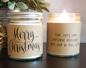 Merry Christmas, Scented Soy Candle, Soy Candle Gift, Personalized Candle, Holiday Candle, Christmas Candle, Candle Favor