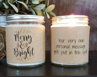 Holiday Candle, Scented Soy Candle, Personalized Candle Gift, Handmade Candle, Christmas Candle,  Christmas Gift, Merry and Bright