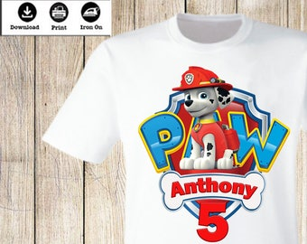 Personalized Paw Patrol Birthday Boy Iron On Transfer Party T Shirt