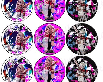 Harley Quinn Toppers instant download, Printable Harley Quinn party cupcakes Topper, Harley Quinn DC Super Hero Girls cupcakes toppers