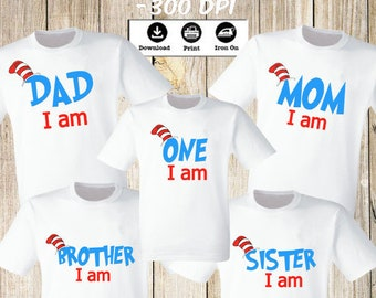 c8fe1b4f1 One I am, Dad I am, Mom I am - Family Iron On Transfers t-shirt. One I am  family set of 5 Iron on Transfers . Instant downloads Digital file