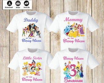 Disney Princess Birthday Party Iron On Transfers Personalized Family Set Of 4 T Shirt Digital Files Only