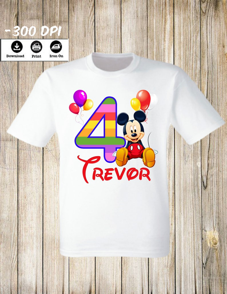 Mickey Mouse Birthday party iron on transfer tshirt Personalized Name and age Birthday boy Party Image Mickey mouse iron on transfer digital