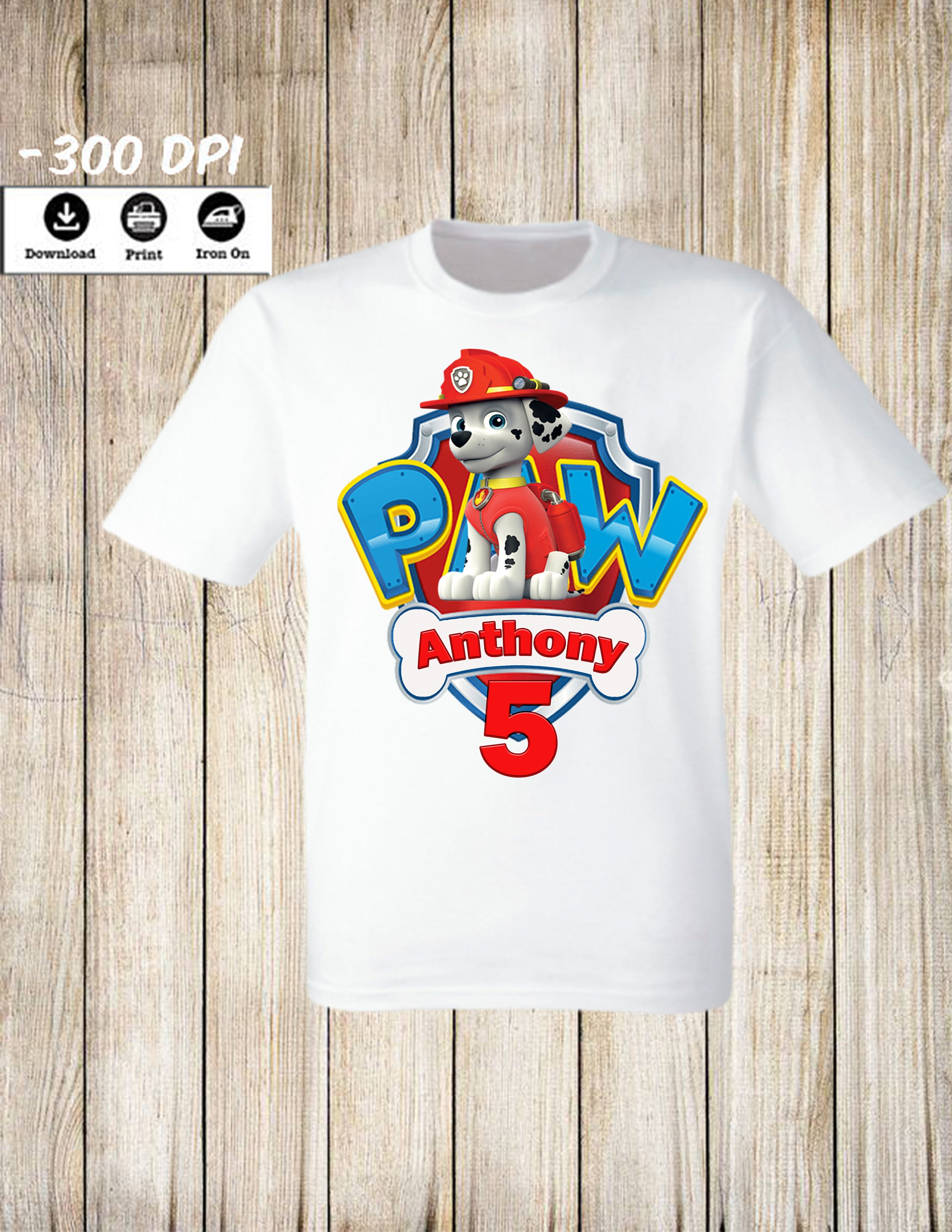 Personalized Paw Patrol Birthday Boy Iron On Transfer
