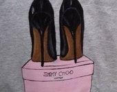 Hand-painted T-shirt - Jimmy Choo Shoes Pink box Black Shoes