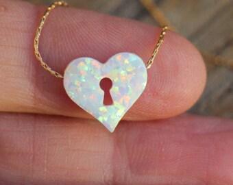 Opal necklace, Heart necklace, Silver heart necklace, opal heart necklace, white opal necklace, gold opal choker necklace, Opal jewelry