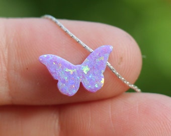 Purple Lavender Butterfly Opal Necklace, Lilac Charm Jewelry Gift for Women Girls Teens, Sterling Silver Gold Rose Filled October Birthstone