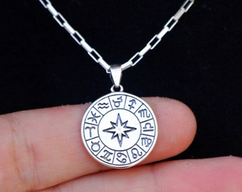 Zodiac Signs Necklace, Sterling Silver Birth Star Sign Astrology Lover Medallion Coin Gift for Him Her, Women Men Horoscope Pendant Jewelry