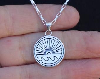 Silver Sun Wave Necklace, Surfer Gift, Sunrise Sunset Pendant, 925 Sterling Silver Unisex Sea Ocean Lover Women Men Gift, Surfing Jewelry