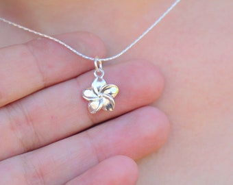 Sterling Silver Flower Necklace, Plumeria Blossom Pendant, Hawaiian Floral Women Jewelry, Minimalist Charm, Small Shiny Flower Gift for Her