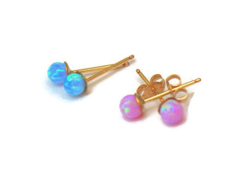 1036f052d Tiny Opal Dot Studs Small gold stud earrings kids earrings | Etsy