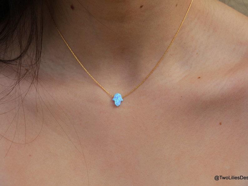 7a13c6506 Opal Necklace Lucky Hand Necklace Opal Hamsa necklace blue | Etsy