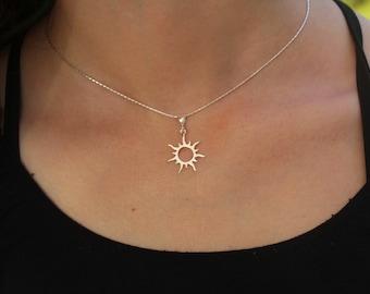 Sterling Silver Sun Necklace, Sunburst Pendant, Women Sunbeam Jewelry, Minimalist Celestial Charm, Small Sunshine Solar Eclipse Gift for Her