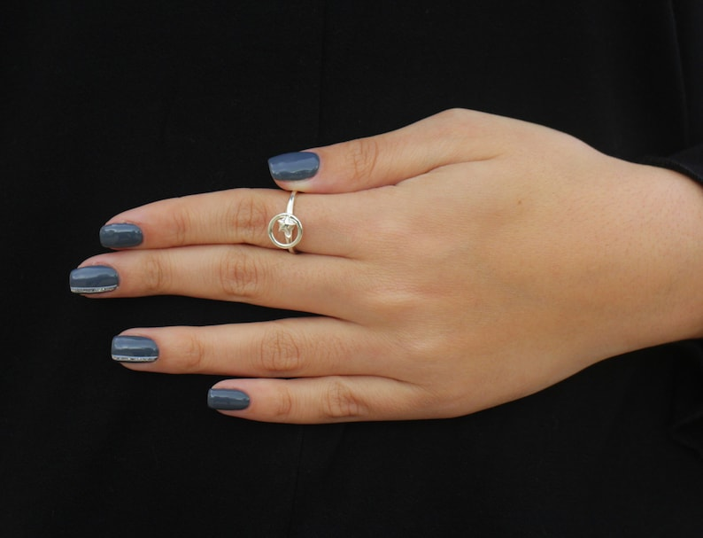 Spinning Dainty Open Ring Star ring with spinning circle around it Adjustable Silver Ring Adjustable ring Sterling Silver Spinner Ring
