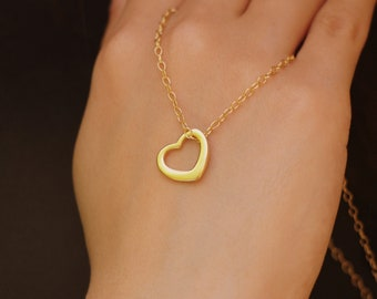 Dainty Heart Necklace, Heart Choker, Heart Charm Necklace, Small Heart Jewelry, Birthday Gift for Mom, Gift for Wife, 14K Gold Filled Chain