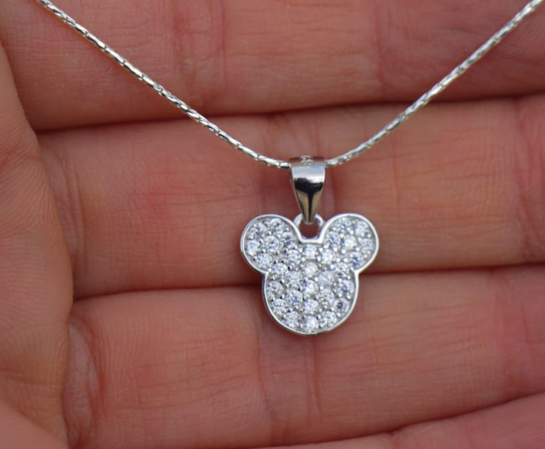 Sparkly Mickey Mouse Necklace, Sterling Silver Women Necklace, Mickey Mouse  Pendant, Disney World Jewelry, Elegant Dainty Birthday Gift