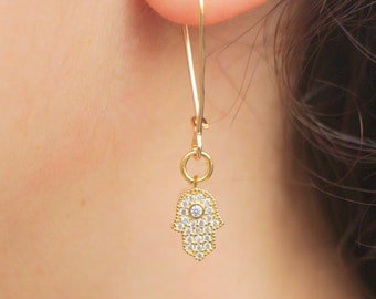 Gold Dangle Hamsa Charm Earrings, Delicate Women Jewelry, 14K Gold Filled Ear Wire, Sparkly Zircon Stone Gift for Her, Classic Elegant Gift
