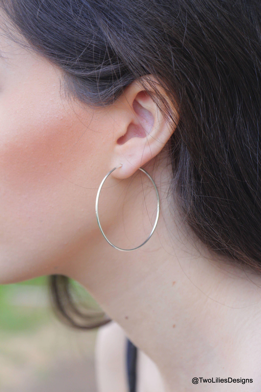 Medium Hoop Earrings Thin Wire Hoops Sterling Silver Hoops Dainty Hoops 14k Gold Earrings Delicate Hoop Earrings Dainty Hoop Earrings