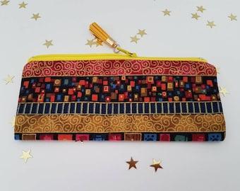 Linen/cotton ethnic pattern clutch