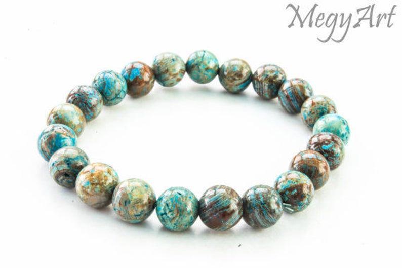 Agate Bead Bracelet Mens Beaded Bracelet Agate Bracelet Bracelet for Women Gemstone Bracelet 10mm Blue and Brown Agate Bracelet
