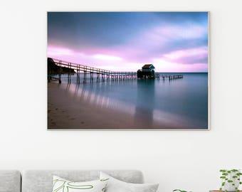 50%OFF,  Pier Waves Print, Ocean, Water, Sea Wall Art, Digital Wall Art, Ocean Waves, Blue Wave Print, Photo, Beach, Pier