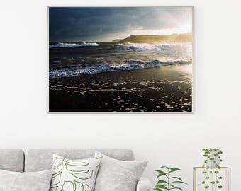 50%OFF,  Ocean Waves Print, Water Print, Sea Wall Art, Sunset Beach, Sunrise, Digital Art, Blue Wave Print, Ocean Photo