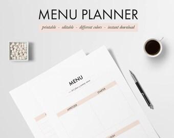 Menu Planner printable, Pastel Orange, Editable | A4 party meal planner, Menu planning Kit, Minimal meal planner, Thanksgiving menu planner