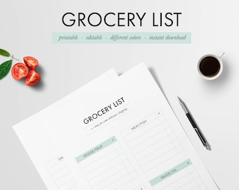 simple grocery list etsy