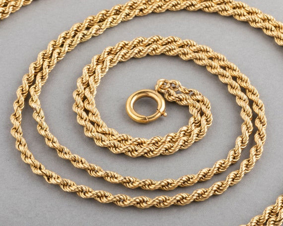 French Vintage Long Gold Necklace