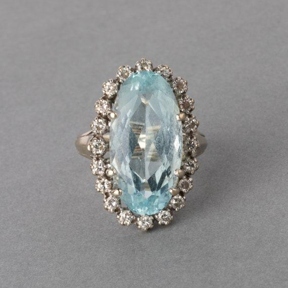 Gold Diamonds and Aquamarine French Vintage Ring