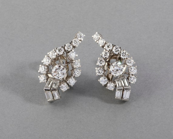 4.40 Carats Diamonds French Vintage Earrings Clip