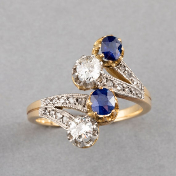 Antique Gold Sapphires and Diamonds French Belle E