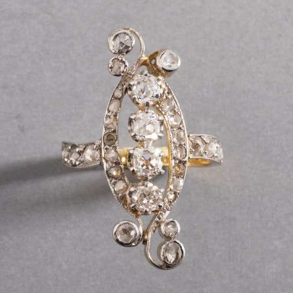 Gold Platinum and 1.50 Carat Diamonds French Belle