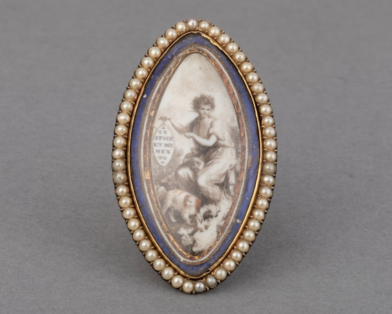 18th Century Gold Pearls and Painting French Ring