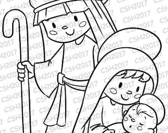 Clear Stamp/Digital seal Sagrada familia Christmas