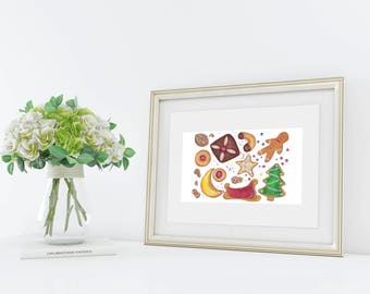 Christmas Cookies, Fine Art Print, Handmade Christmas Gift, Christmas Artwork, Festive Illustration, Gift for Foodie, Festive Kitchen Art