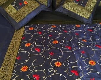 Bedding Indian Silk Floral Embroidery Zari Navy