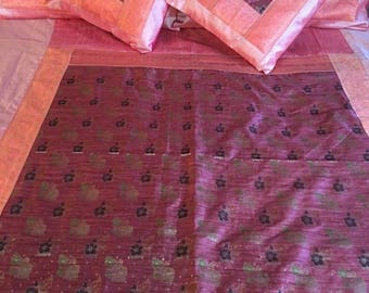 Bedding Indian Silk Brocade PatternColour Peach